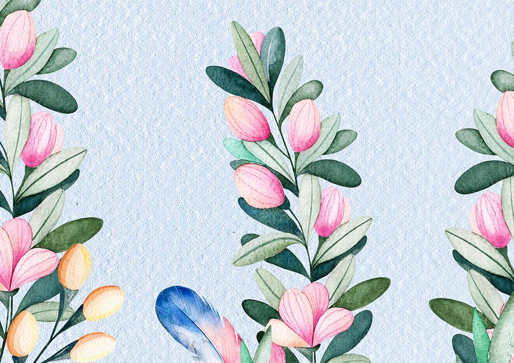 北欧美式手绘玫瑰花卉花藤羽毛背景墙墙纸