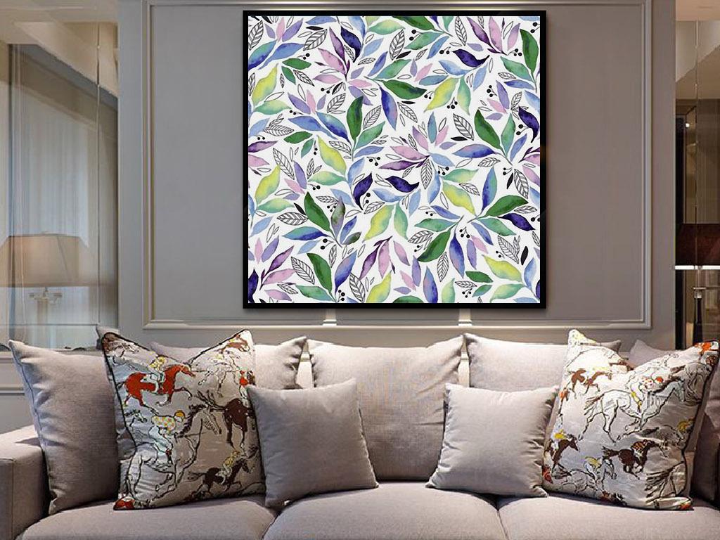 植物花卉装饰画 > 满天星绿叶树叶北欧现代小清新手绘装饰画  素材