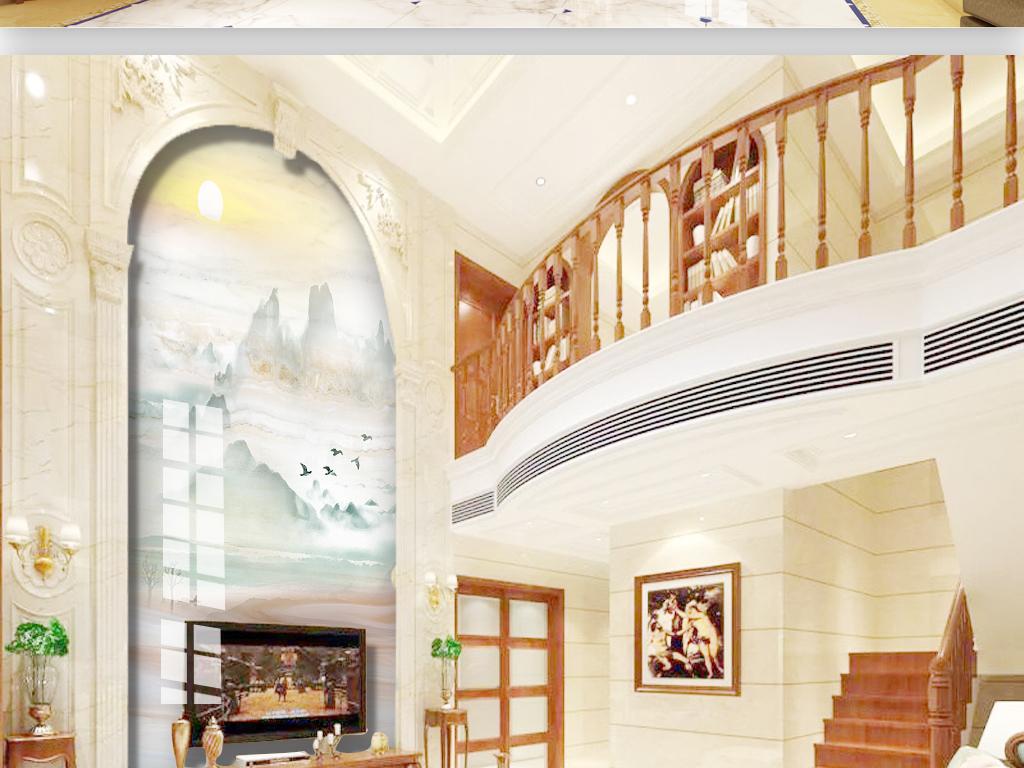 玄关复式江山如画大理石石材大气玉石背景墙图片
