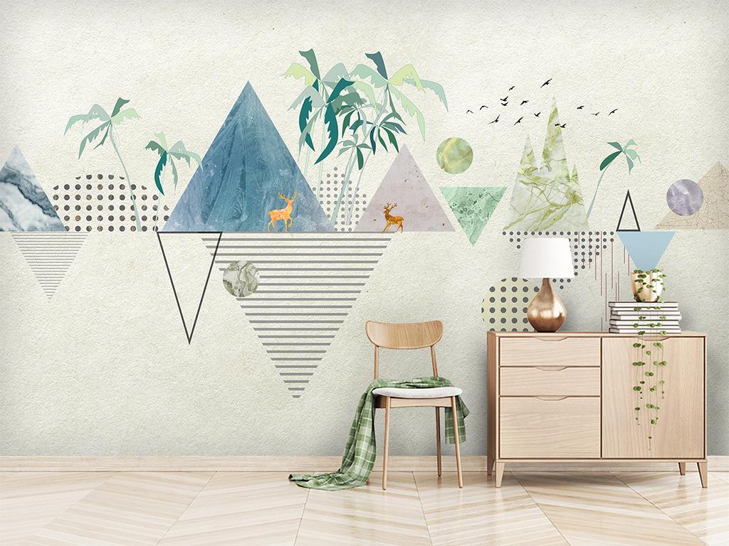 北欧现代简约个性几何壁画麋鹿电视背景墙图片