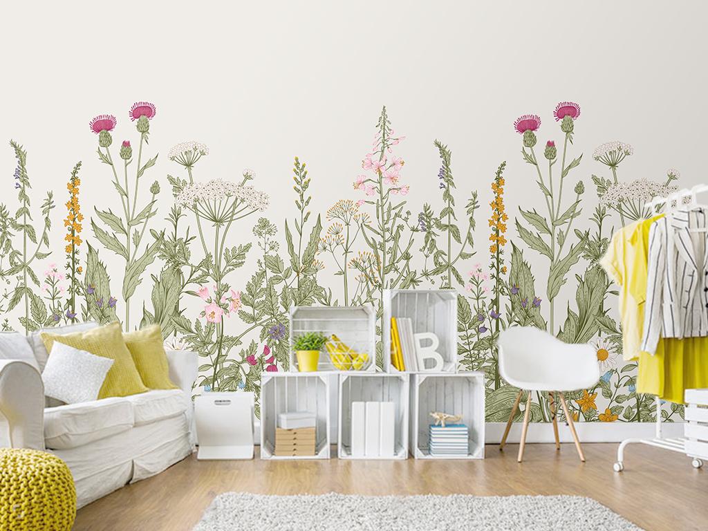 背景墙|装饰画 电视背景墙 手绘电视背景墙 > 复古美式手绘花卉花丛