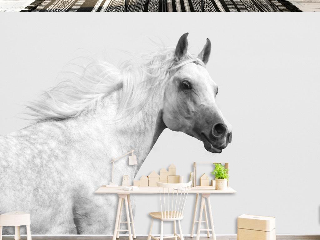 现代简约追梦白马背景墙壁画图片
