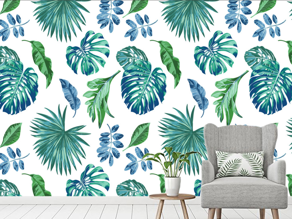 背景墙|装饰画 电视背景墙 手绘电视背景墙 > 现代简约雨林芭蕉叶装饰