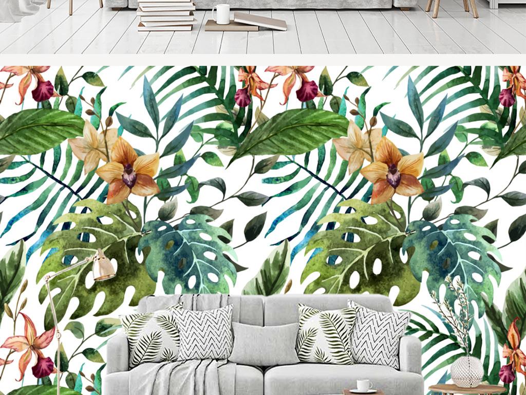 背景墙 电视背景墙 手绘电视背景墙 > 欧式热带雨林芭蕉叶客厅背景墙