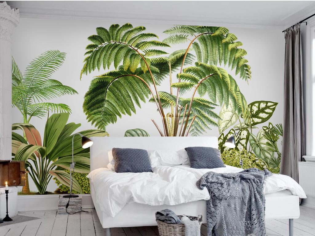 北欧简约绿色植物电视背景墙