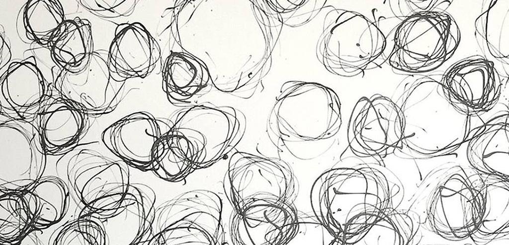 灰色圆圈抽象装饰画