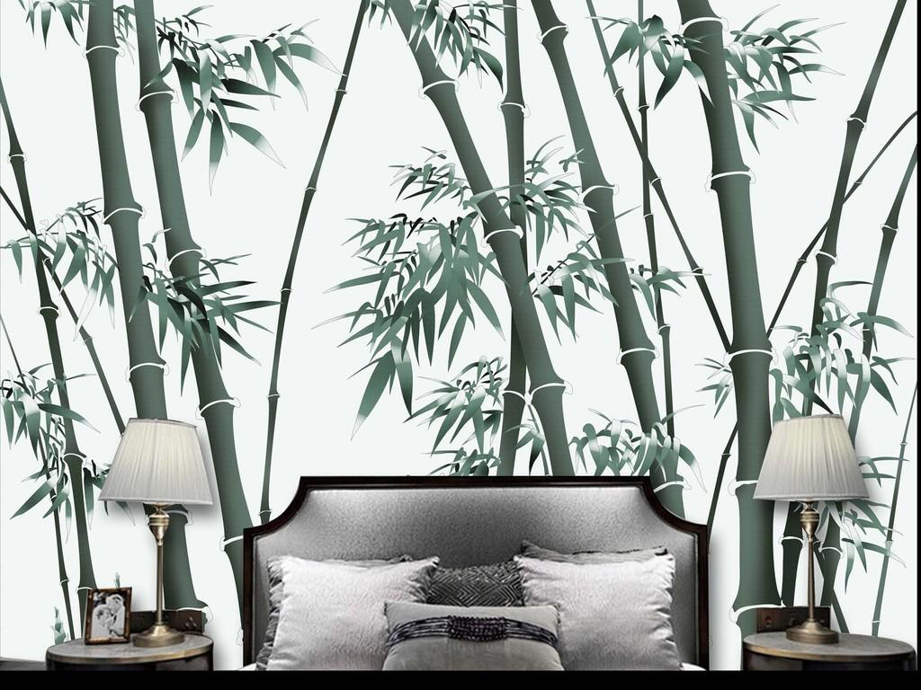 新中式手绘竹林背景墙
