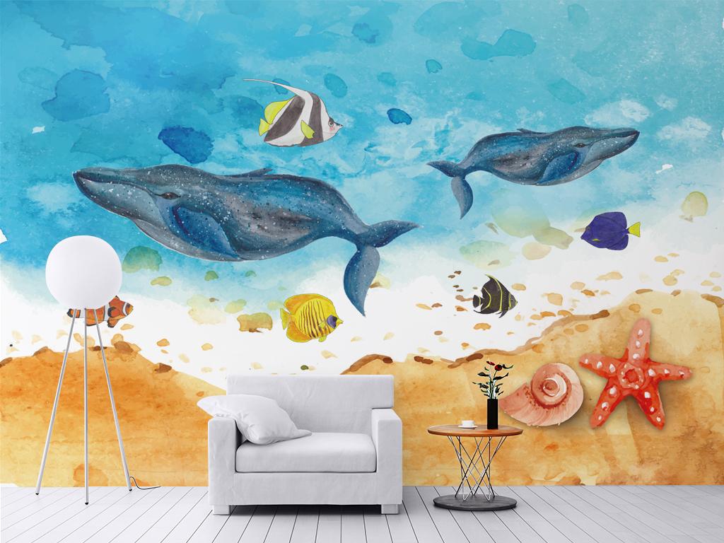 手绘鲸鱼海底世界背景墙壁纸壁画