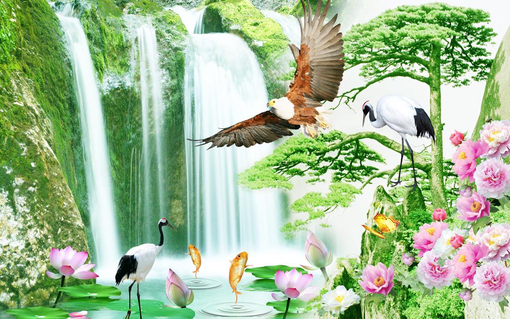 自然山水风景迎客松装饰画