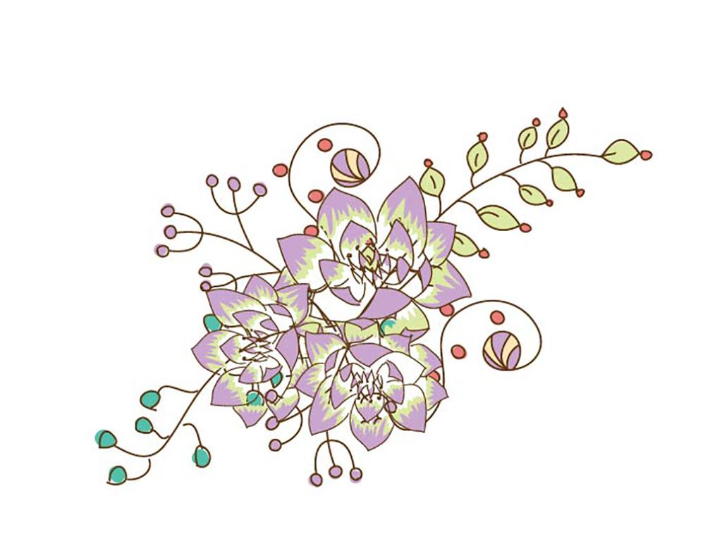 花卉简笔画带颜色的图