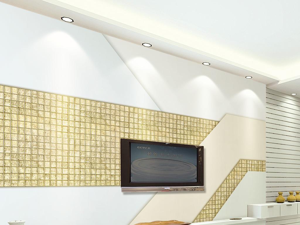 现代简约北欧风格金色马赛克拼接电视背景墙