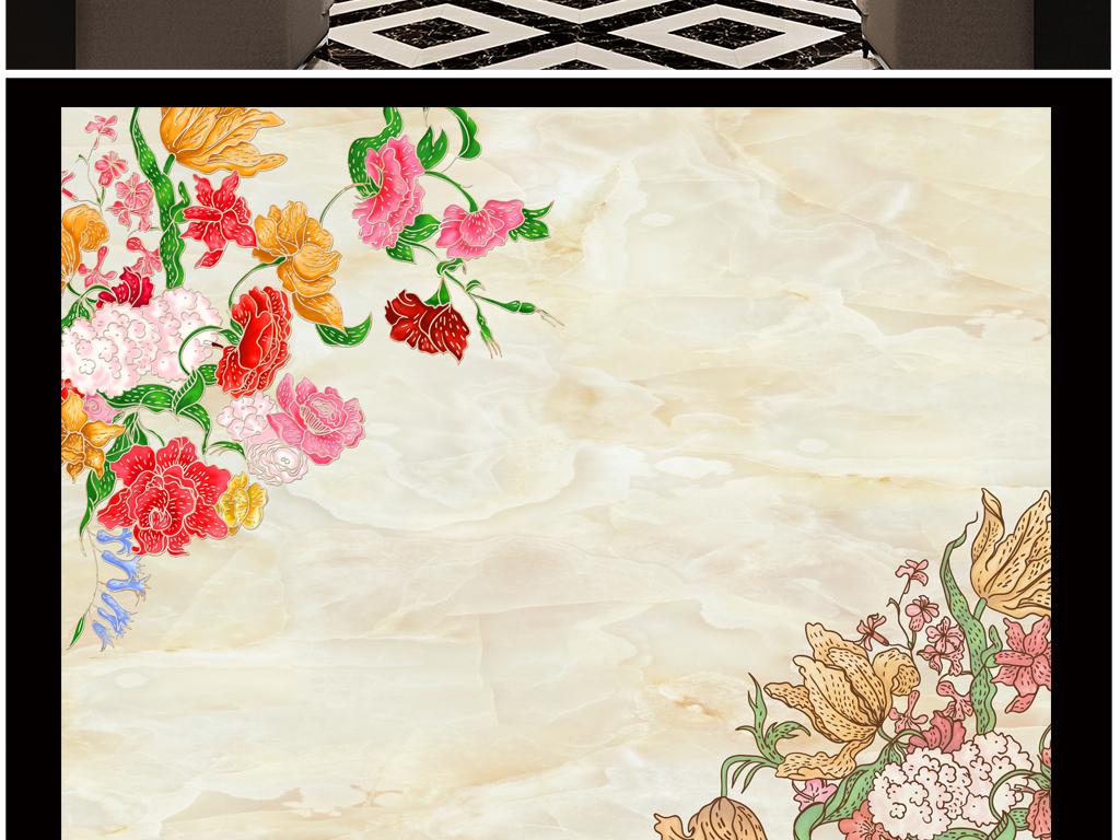 背景墙 电视背景墙 电视背景墙 > 高端大理石手绘花  素材图片参数