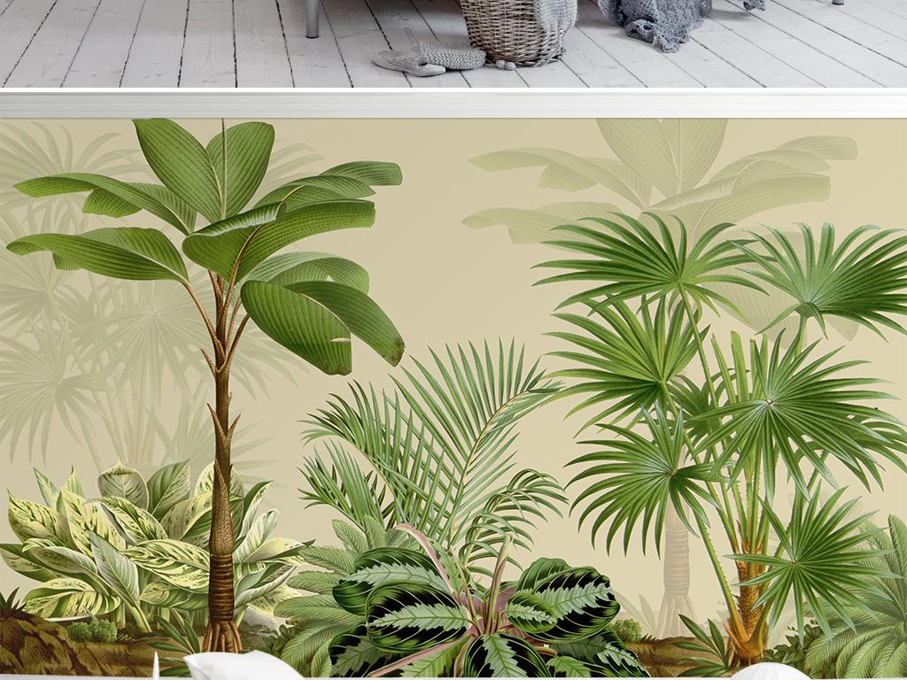 北欧简约热带植物手绘电视背景