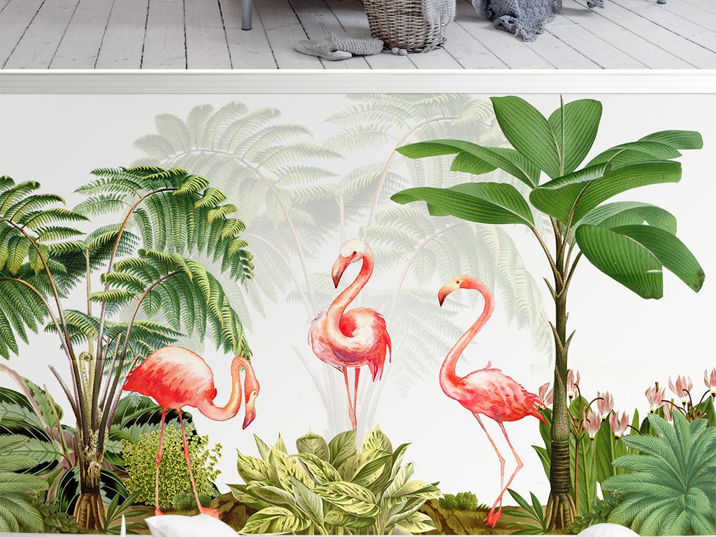 火烈鸟植物手绘现代简约电视背景墙图片设计素材_高清