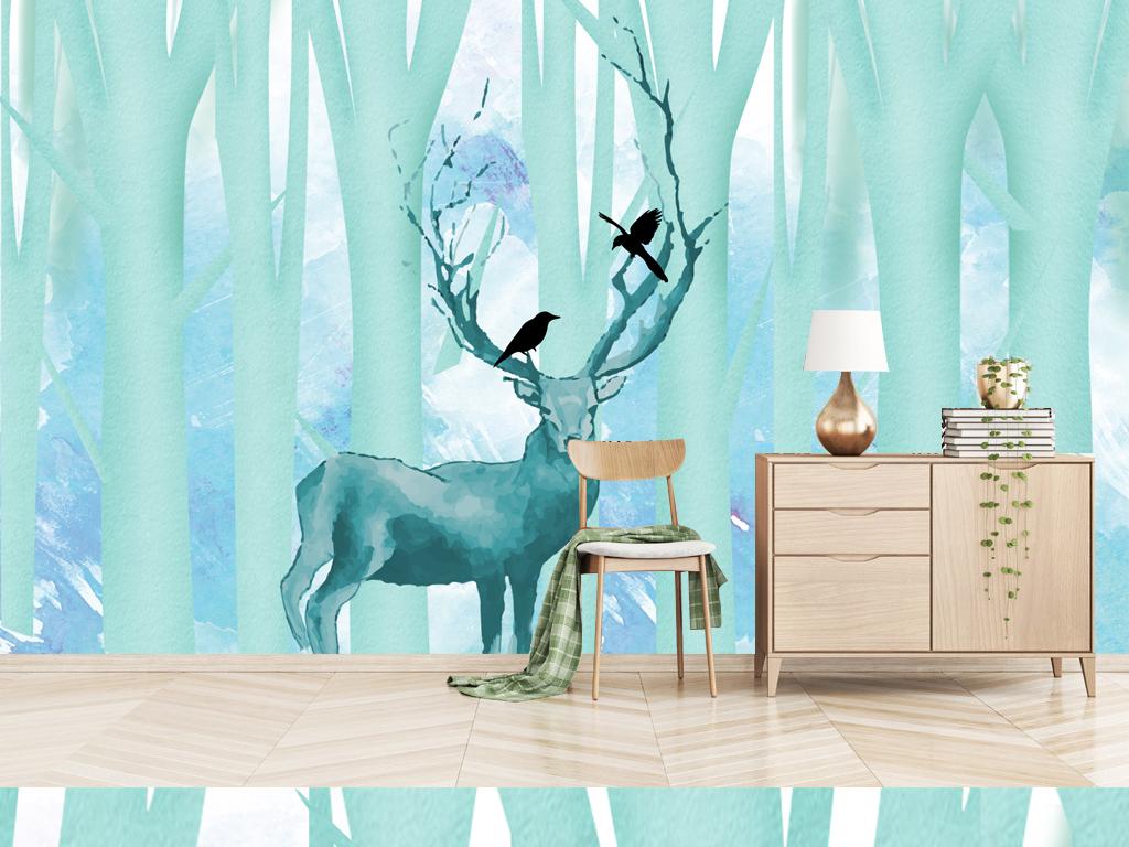 北欧现代简约手绘麋鹿森林清新背景墙壁画