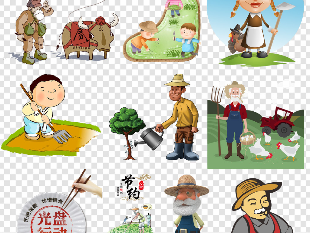 卡通稻穗手绘谷物农业海报割麦子