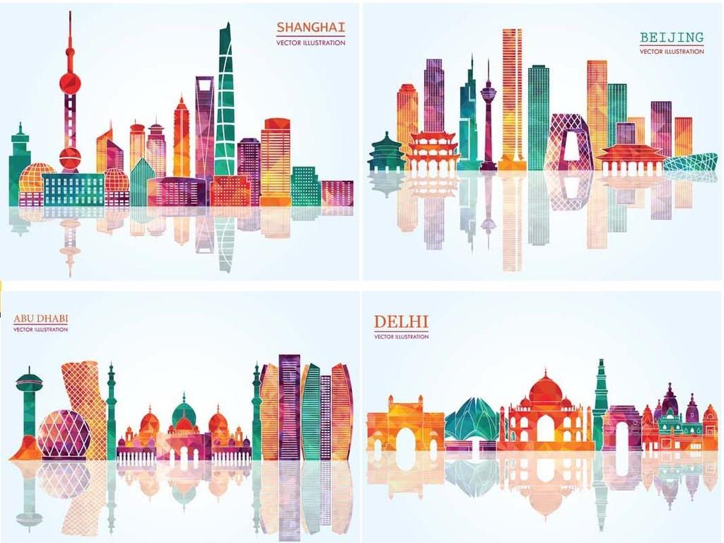 免抠元素 花纹边框 中国风边框 > 城市都市建筑建筑速写房子剪影素材