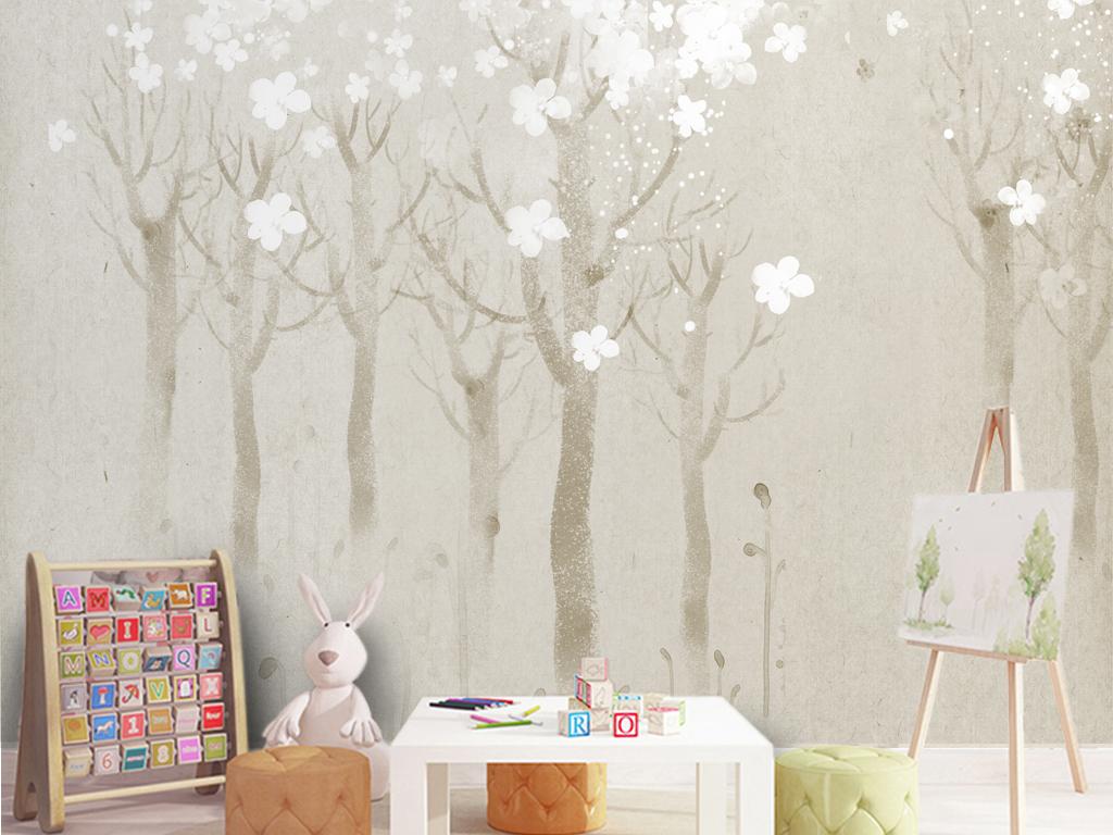 复古北欧风格背景墙抽象树森林电视背景墙