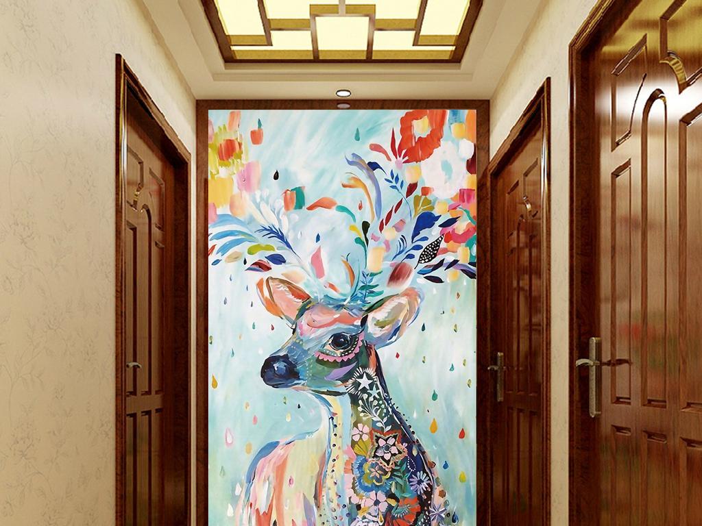 彩色麋鹿玄关过道背景墙挂画装饰画图片下载psd素材 其他图片