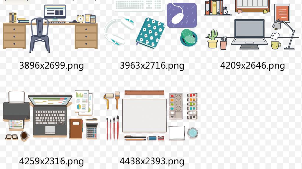 手绘办公用品文具办公桌工作台png素材