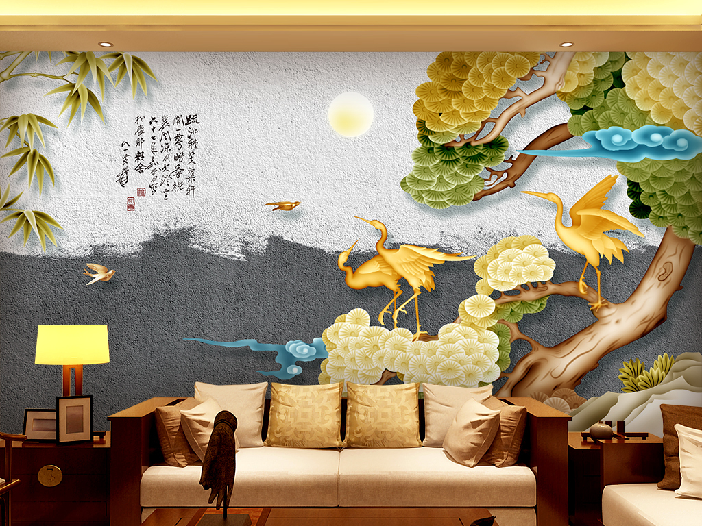 新中式松鹤延年手绘山水画电视背景墙