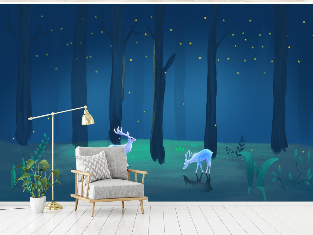 背景墙|装饰画 电视背景墙 手绘电视背景墙 > 蓝色森林卡通背景墙儿童