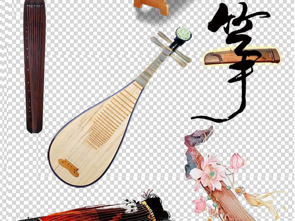 免抠元素 花纹边框 中国风边框 > 古筝古琴中国乐器复古古典png素材图片