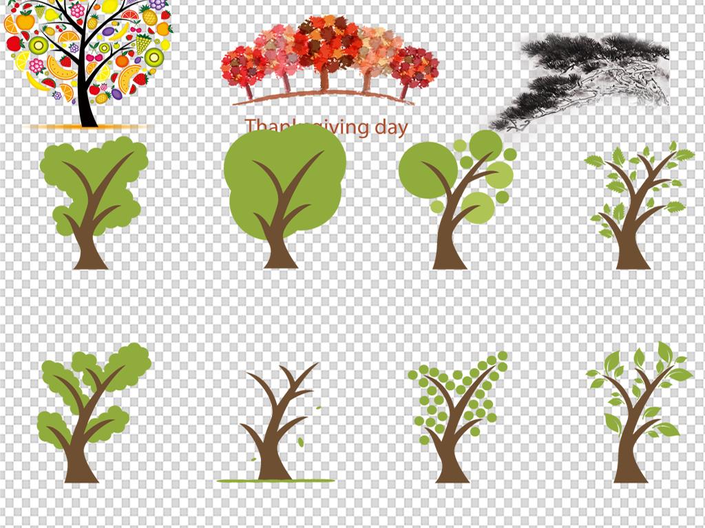 画抽象卡通树幼儿园卡通树许愿树发财树手绘树香蕉树成长树树简笔画
