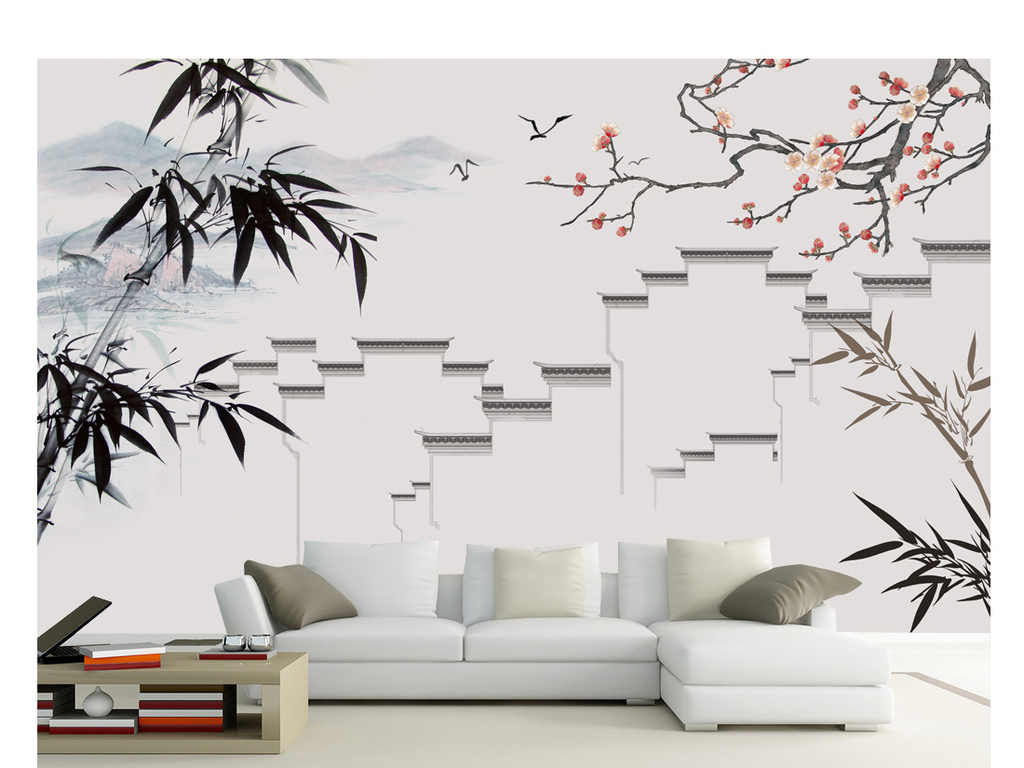 手绘工笔梅花水墨山水竹子马头墙装饰画背景墙