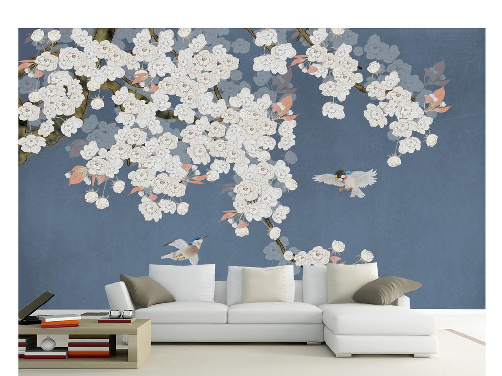 手绘工笔杏花花鸟装饰画背景墙 位图, cmyk格式高清大图,使用软件为
