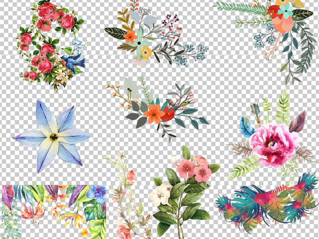 手绘水彩植物边框花卉边框海报背景设计png素材