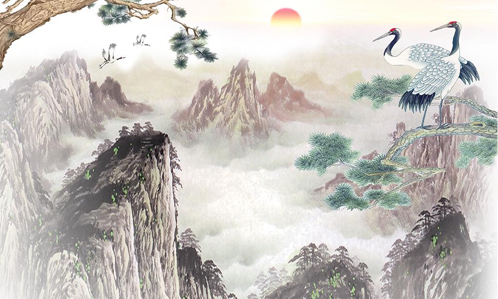 国画松鹤延年水墨手工画新中式电视背景墙