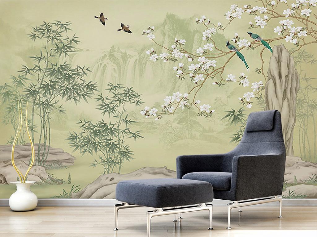 新中式山水手绘花鸟工笔花鸟电视背景墙