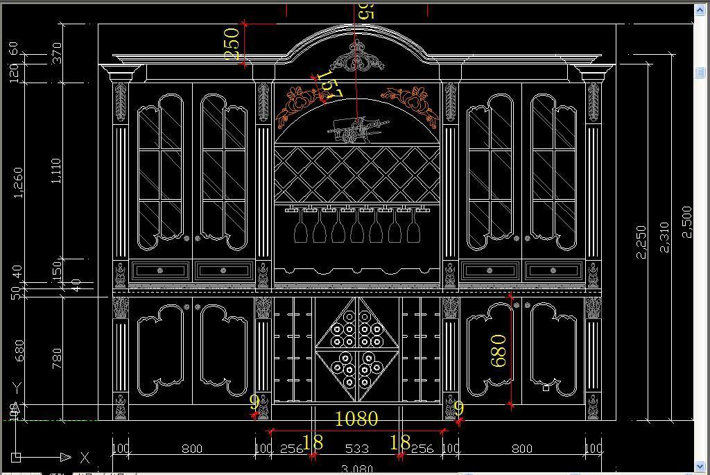 标准衣柜酒柜cad设计图纸