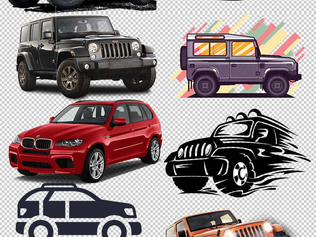 手绘卡通越野车吉普车创意汽车png素材