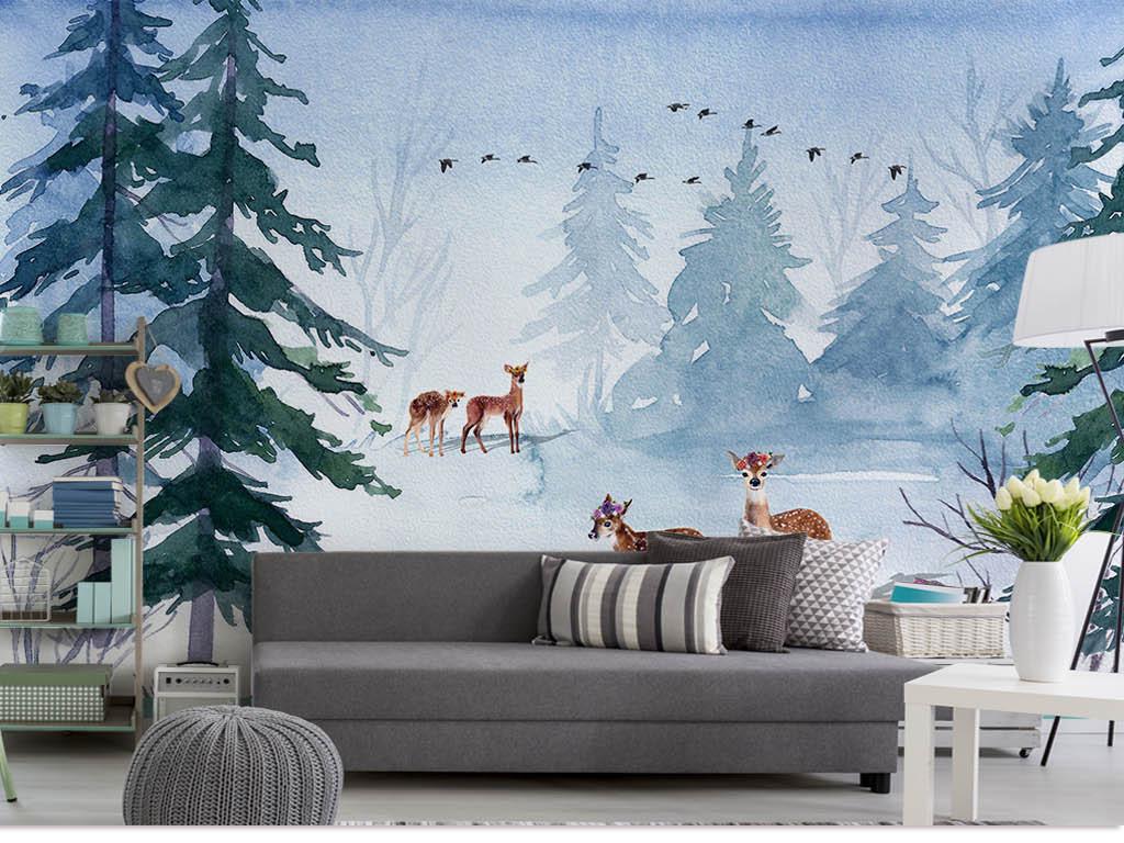 背景墙|装饰画 电视背景墙 手绘电视背景墙 > 清新雪地松树梅花鹿北