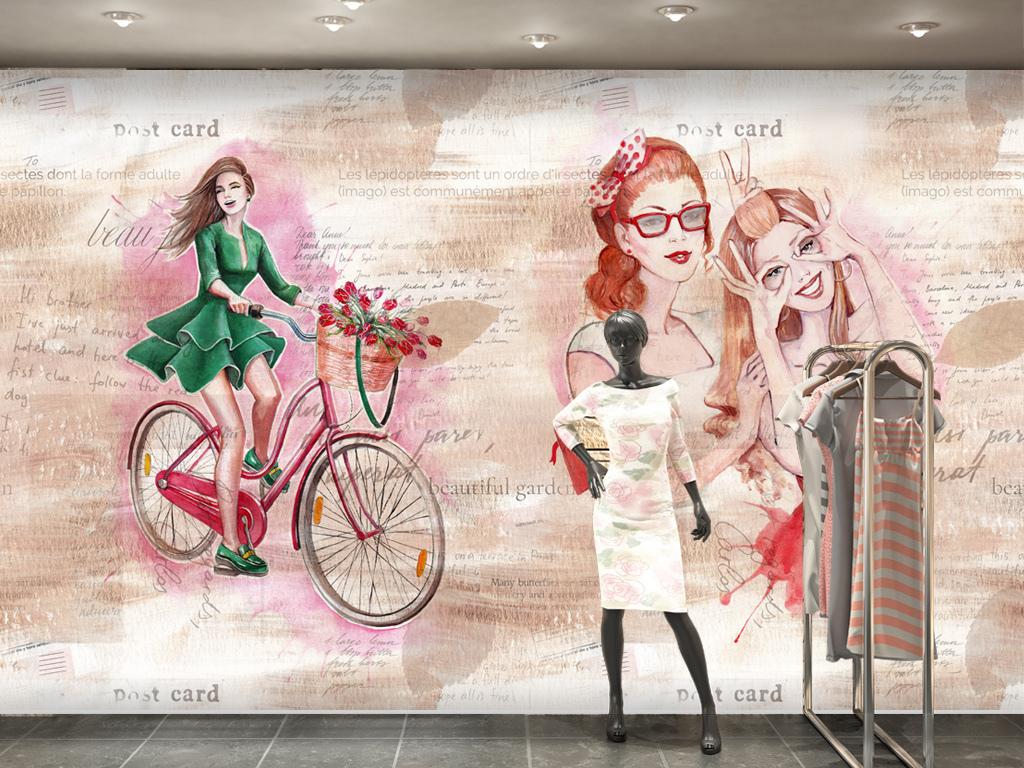 水彩手绘美女服装店卖场背景墙