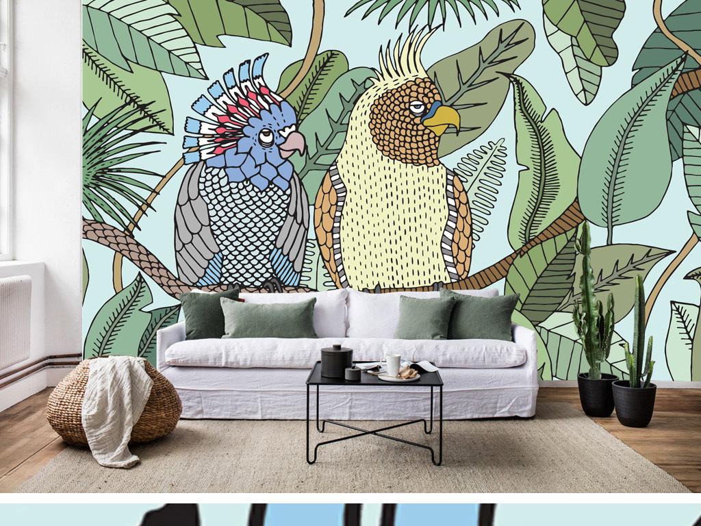 背景墙 墙纸 壁纸 欧式墙纸 > 卡通热带雨林植物鹦鹉背景墙装饰画