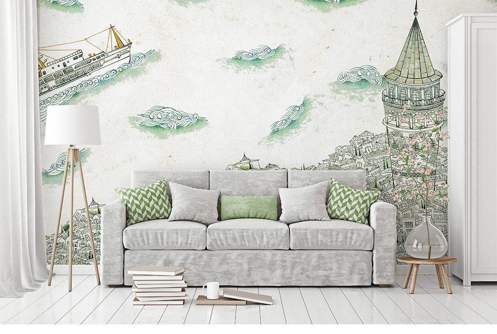 电视背景墙 手绘电视背景墙 > 北欧复古线条城市游轮大海背景墙