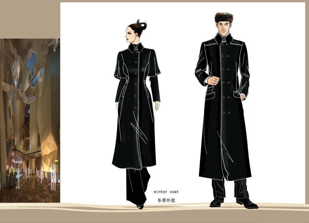 童大衣男女外套服装效果图