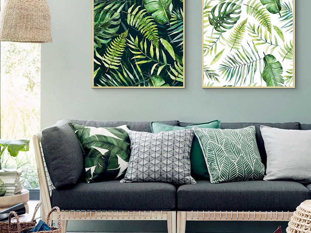 ins现代北欧植物叶子无框装饰画
