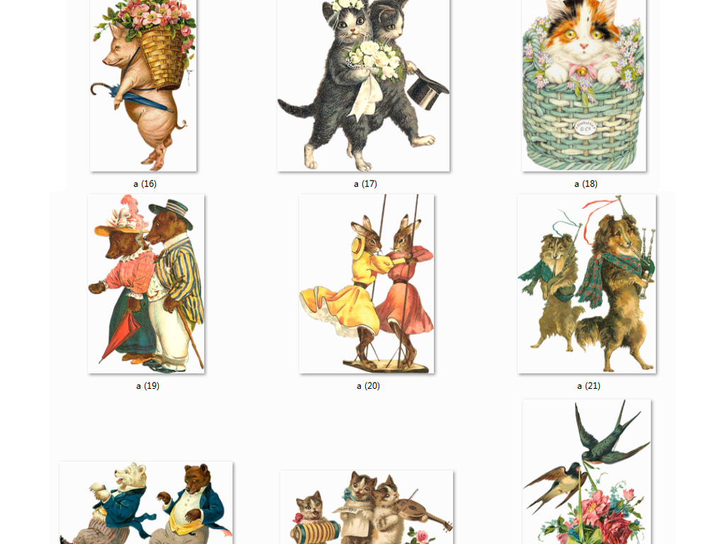 欧美复古维多利亚手绘动物animal猫狗插画图标图片png
