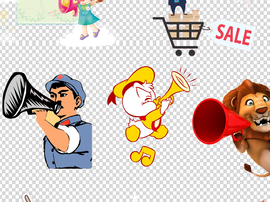 卡通人物手拿喇叭元素png背景素材