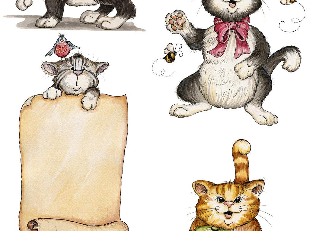 欧美风超可爱高清手绘卡通猫咪png格式免抠图设计素材