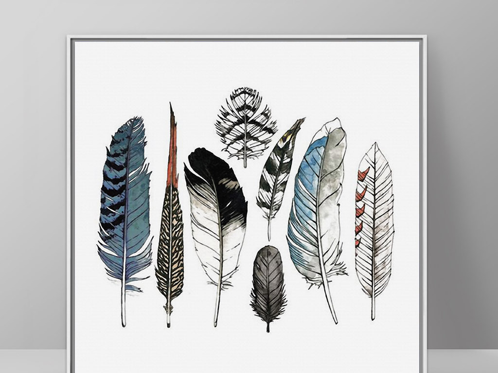 鸟类羽毛手绘水彩欧式简约北欧现代装饰画