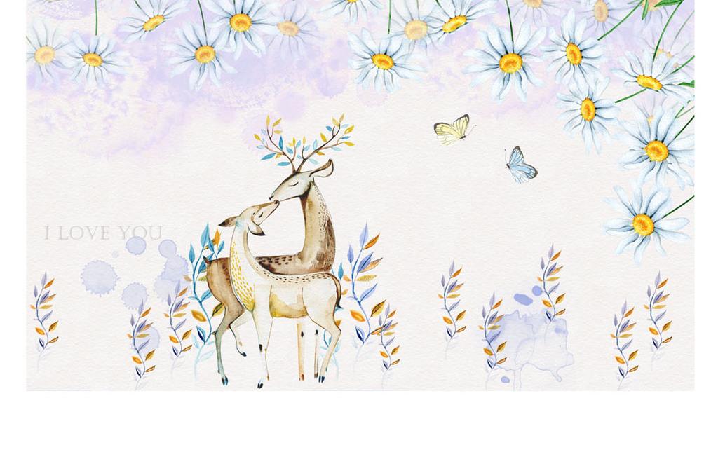 唯美手绘水彩花卉幸福鹿装饰画背景墙