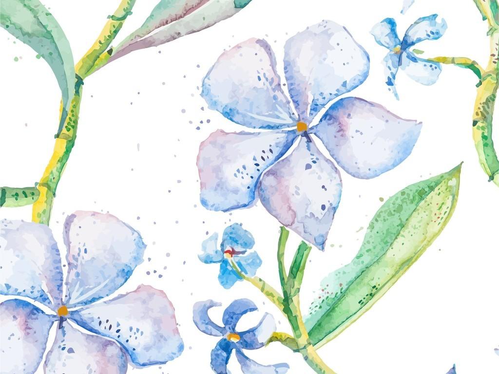 森系小清新植物花卉手绘水彩花卉印花