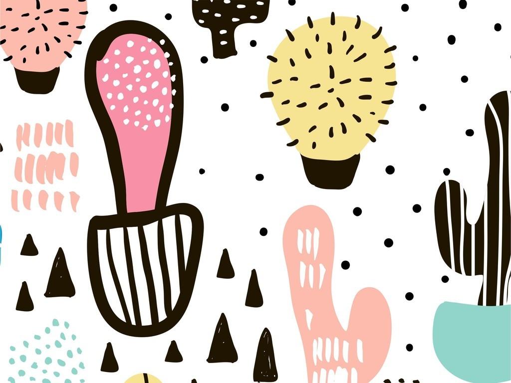 手绘植物仙人掌卡通图案热带沙漠景观素材设计图片