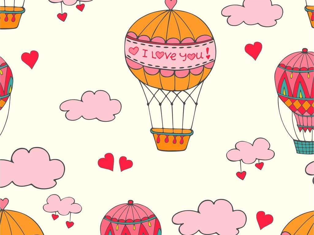 卡通几何爱心热气球图案天空云朵印花ai