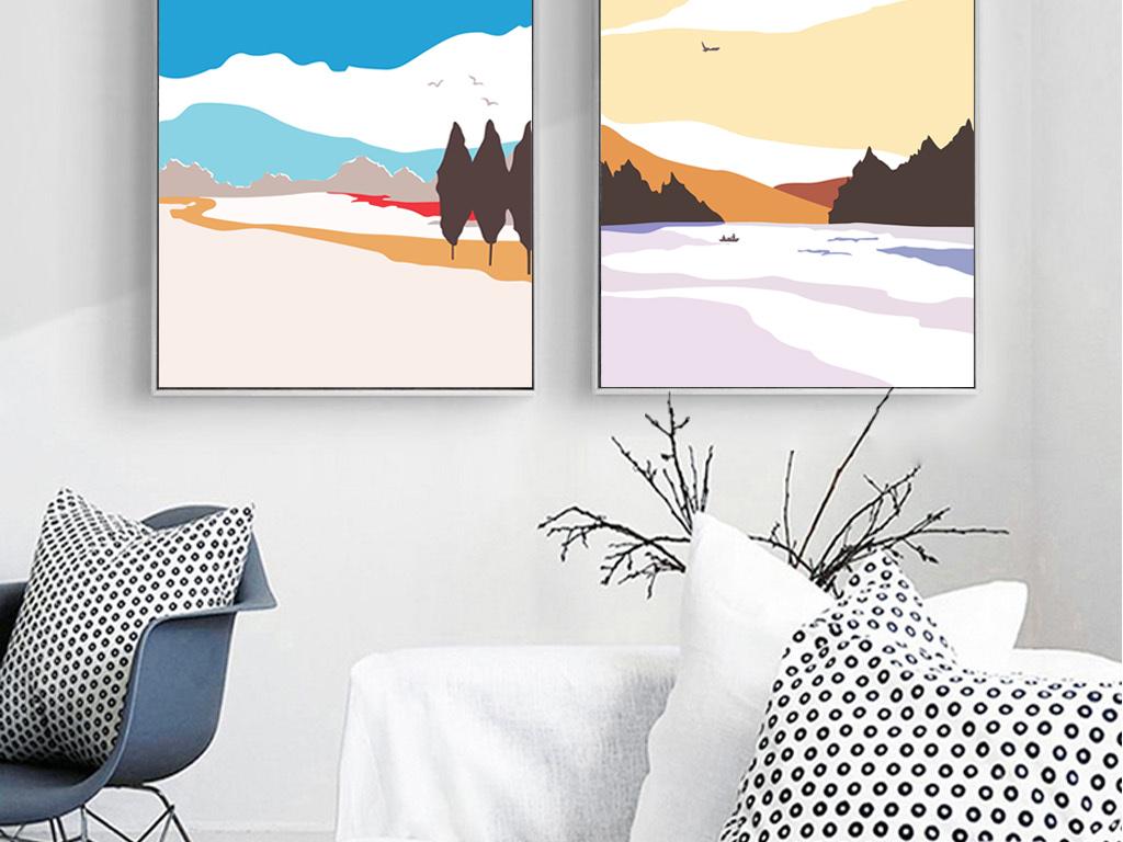 现代手绘北欧装饰画色块搭配墙面装饰